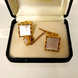 Vintage Gold/Mother of Pearl Cuff Links & Tie Pin